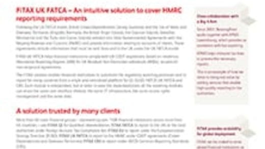 FiTAX – Solution for UK FATCA reporting