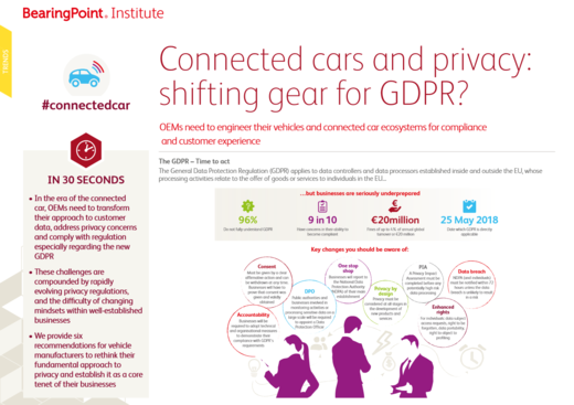 Connected cars and privacy: shifting gear for GDPR?