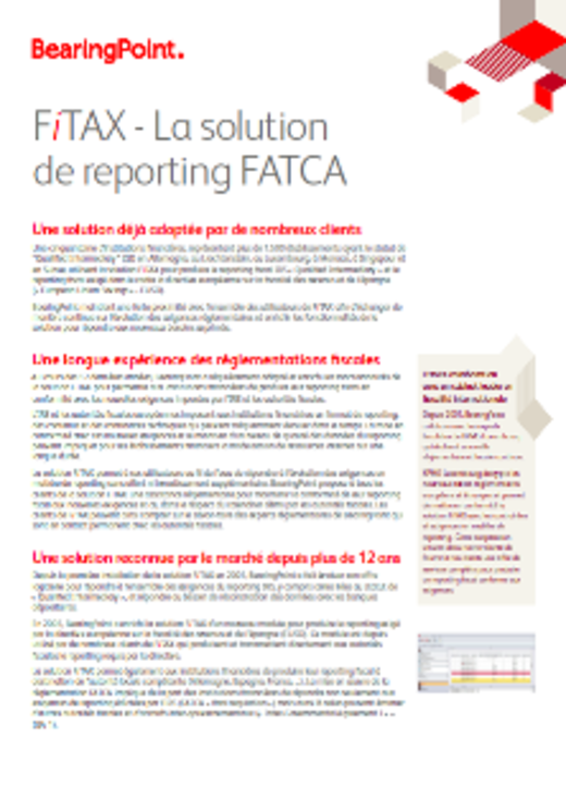 FiTAX-FATCA : La solution de reporting FATCA