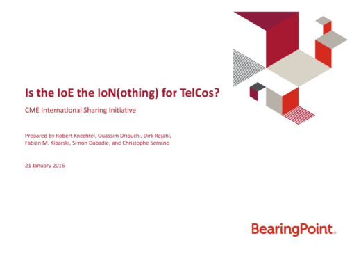 Is the IoE the IoN(othing) for TelCos?
