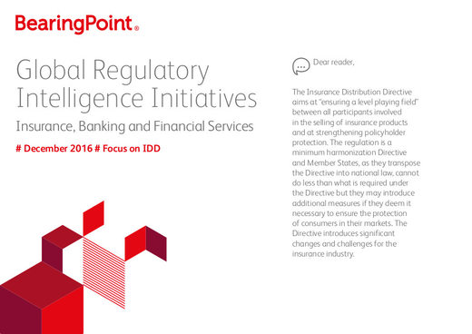 Global Regulatory Intelligence Initiatives - December 2016 - Focus on IDD