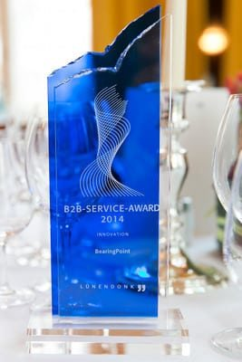"The Business-to-Business-Service-Award 2014 for the ""Innovation"" category. Source: Lünendonk"