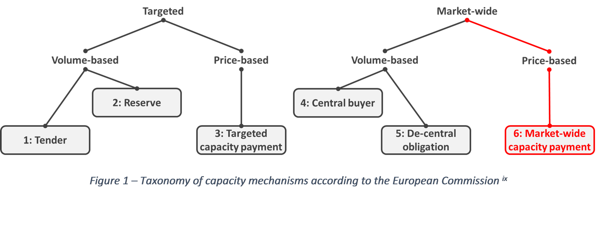 Taxonomy of capacity mechanisms according to the European Commission