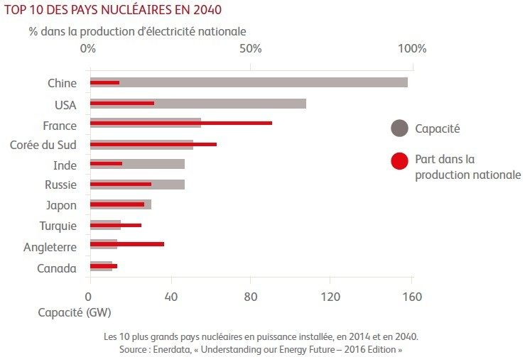 Top ten nuclear countries in 2040